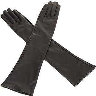 guanti - TOOGOO(R) Lunghi guanti in pelle morbida artificiale delle donne / signore '- Nero