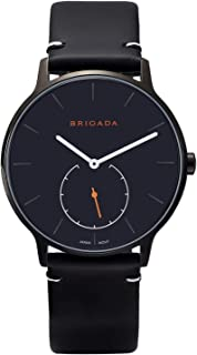 BRIGADA Cool Black Nice Fashion Men Dress Nylon Band Watch, Swiss Brand Minimalist Business Casual Quartz Men's Watch Waterproof