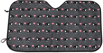 Grey Boston Terrier Love Hearts Auto Sun Shade for Car SUV Truck 27.5 X 51 Inch, Foldable Auto Window Sunshade,Blocks Uv Rays to Keep Your Vehicle Cool for Windshield