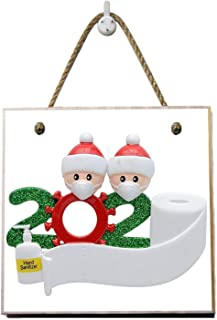 2020 Personalized Christmas Ornaments Wearing Facemask Toilet Paper Hand Sterilize Element, with 1Pen, Christmas Tree Hang...