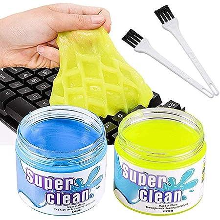 BESTZY Kit Limpiador de Teclado - 2 Gel de Limpiador y 2 Cepillo Teclado, Súper Limpia el Polvo y las Bacterias en Ordenador Tableta Cámara ...