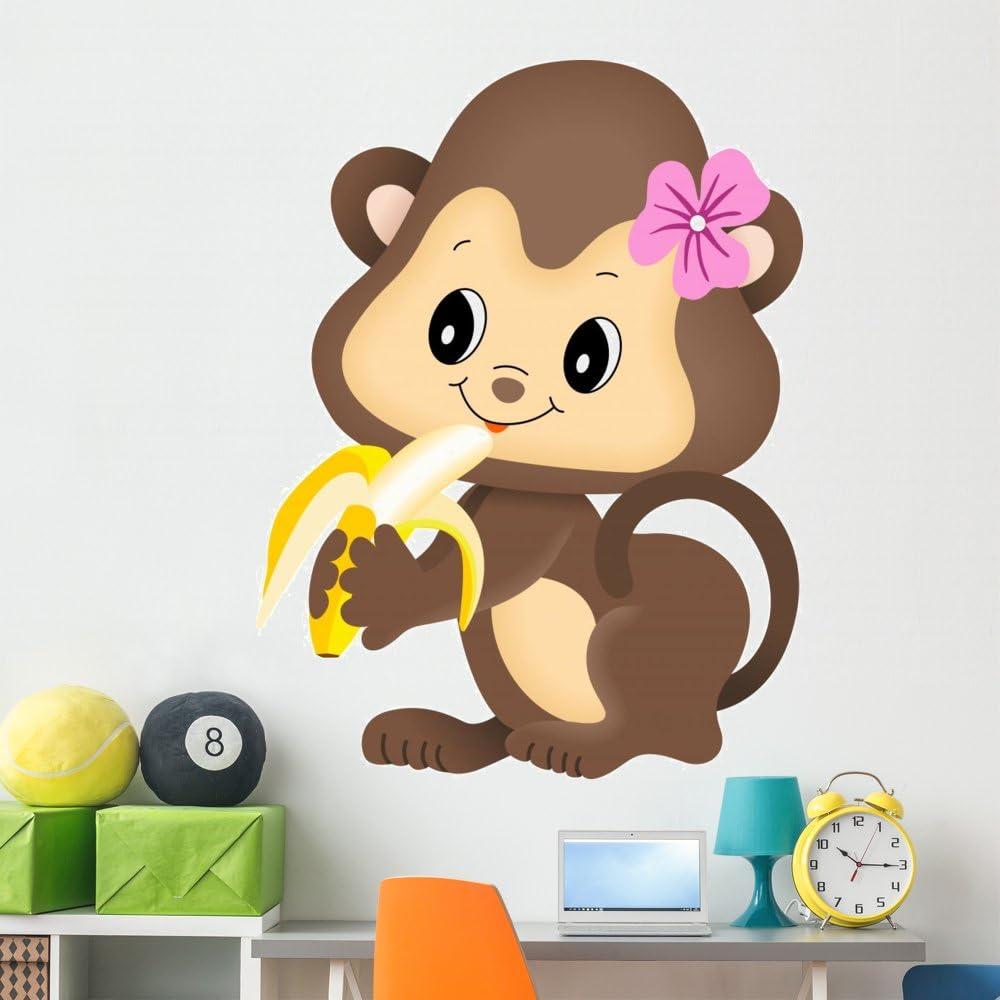 Wallmonkeys Girl Monkey Eating Max 42% OFF Banana Peel Decal Topics on TV Wall Stick and