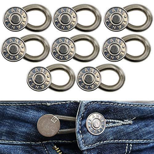 Bequeme Hosenbunderweiterung für Damen und Herren, geeignet für Jeans, Hosen, Anzughosen, Röcke, Hosenerweiterung bis 5 cm, 8 Pack, 17 mm Jeansknöpfe mit Federband, Lieblingshosen weiter tragen können