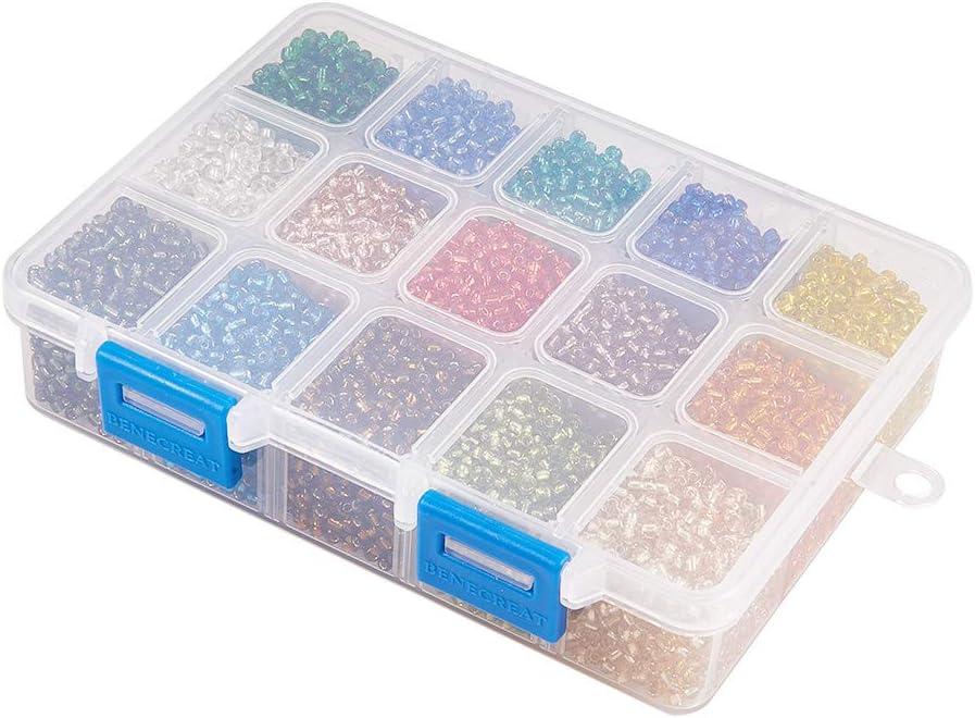 PandaHall PH 220pcs 15 Farbe 6//0 Glas Rocailles 4mm Silber ausgekleidet Perlen mit Container Box f/ür Schmuck Machen