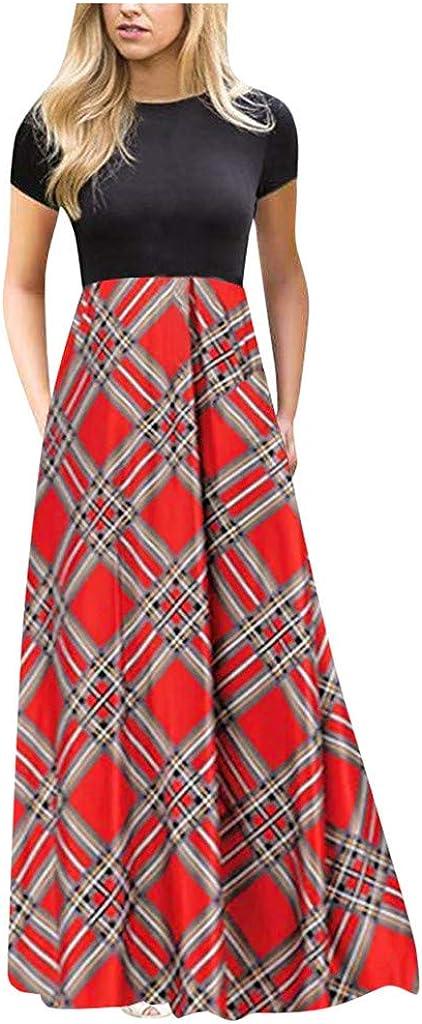Women's Short Sleeve Maxi Dress Vintage Boho Patchwork Print Summer Beach Tunic Tank Dress Casual Loose Swing Long Dress