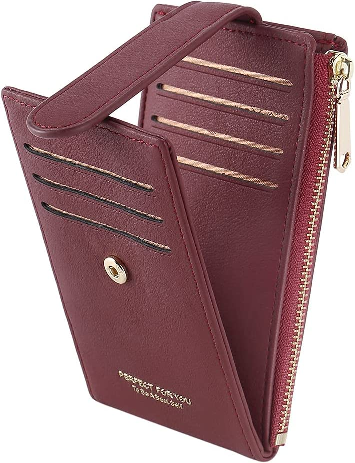 CLUCI Small Wallet for Women Vegan Leather Compact Multi Card Organizer Zipper Coin, ID Window Ladies Travel Clutch Wine Red