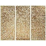 """Empire Art Direct Sunshine Hand Painted Gold Leaf Abstract Triptych Wall Art, 48"""" x 20"""" x 2"""" Each, Ready to Hang"""