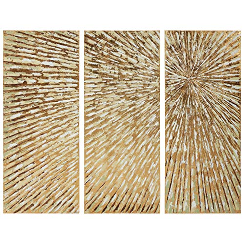 """Empire Art Direct Sunshine Hand Painted Gold Leaf Abstract Triptych Wall Art, 48"""" x 20"""" x 2""""..."""