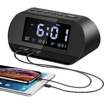 Aitsite Radiosveglia, FM Digitale Sveglia con Doppie Porte di ricarica USB, Doppio Allarme con 5 suoni di Allarme, 10 minuti Snooze, 6 Dimmer, Termometro, 12/24 ore, Batteria di Backup