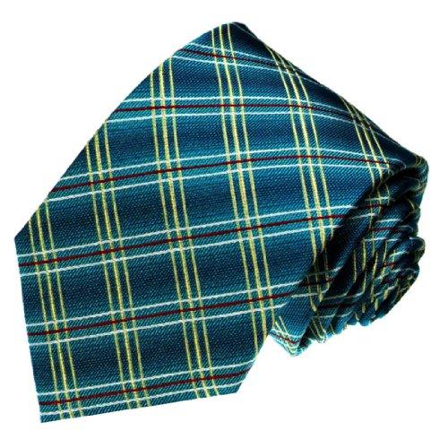Lorenzo Cana - Designer Krawatte aus 100% Seide - Handgefertigte Seidenkrawatte - türkis rot gold kariert Karos - 42037