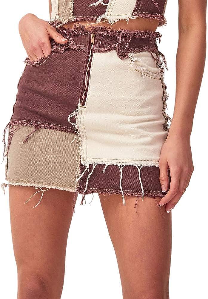 Fashion Store Women's Patchwork Jeans Skirt Mini Denim Skirt High Waisted Skirt Vintage Fashion Jeans Pencil A-line Skirt