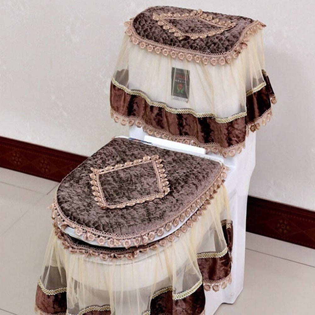 Long-awaited iUnisy 3 Max 72% OFF PCS Toilet Seat Cover Cashmere Pads Flannel Printe Lace