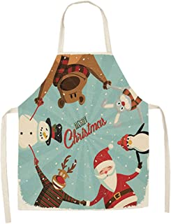 YXDZ (2 Pieces Nordic Wind Apron Long-Sleeved Waterproof Kitchen Adult Gowns Anti-Dressing Sleeves Oil-Proof Waterproof Long-Sleeved Apron Christmas Apron 12