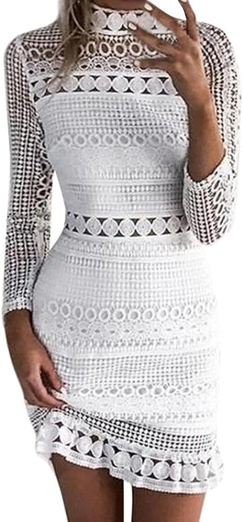 Womens Lace Crochet Dresses Pencil Mini Dress Bodycon Bandage Cocktail Party