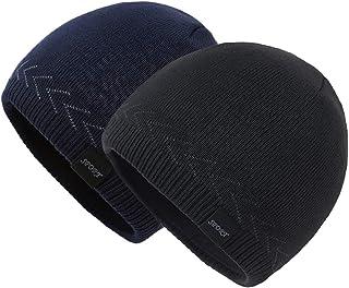 OMECHY Mens Winter Warm Knitting Hats Plain Skull Beanie Cuff Toboggan Knit Cap