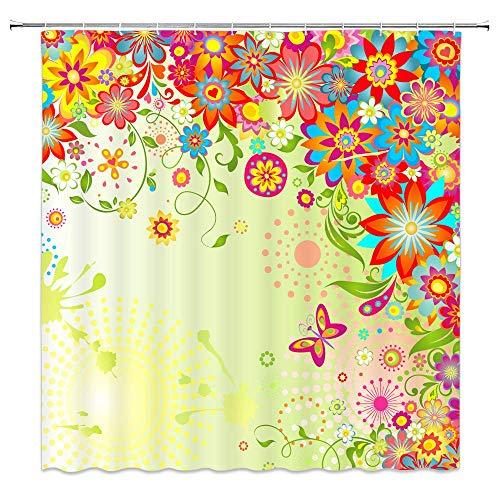 AdaCrazy Duschvorhang gelbe Sonne Blume natürliche Landschaft grünes Blatt Schmetterling 71x71 Zoll hochwertige Polyester wasserdichtes Gewebe Duschvorhang einschließlich 12 Kunststoffhaken
