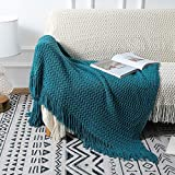 Super Soft Throw Blankets for Couch Teal Blue Nordic Style Decorative Throw Blanket Chunky Knit Throw Office Air Conditioning Knee Napping Throw Blanket Knitted Blanket Suitable for All Seasons