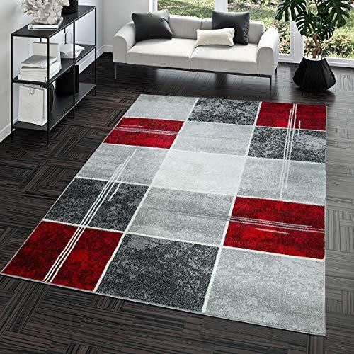 Teppich Günstig Karo Design Modern Wohnzimmerteppich Grau Rot Top Preis Größe: 240x340 cm
