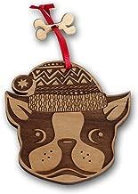 BELLA BUSTA Christmas Ornament- Decorative Hanging Ornaments- Engraved and Laser Cut Natural Alder Wood (French Bulldog)