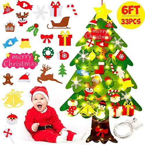 ZOYLINK fieltro árbol de Navidad, árbol de Navidad DIY, interesante árbol de Navidad para niños, decoración colgante de regalo con 50 luces LED, 33 piezas de decoración, decoración colgante de Navidad