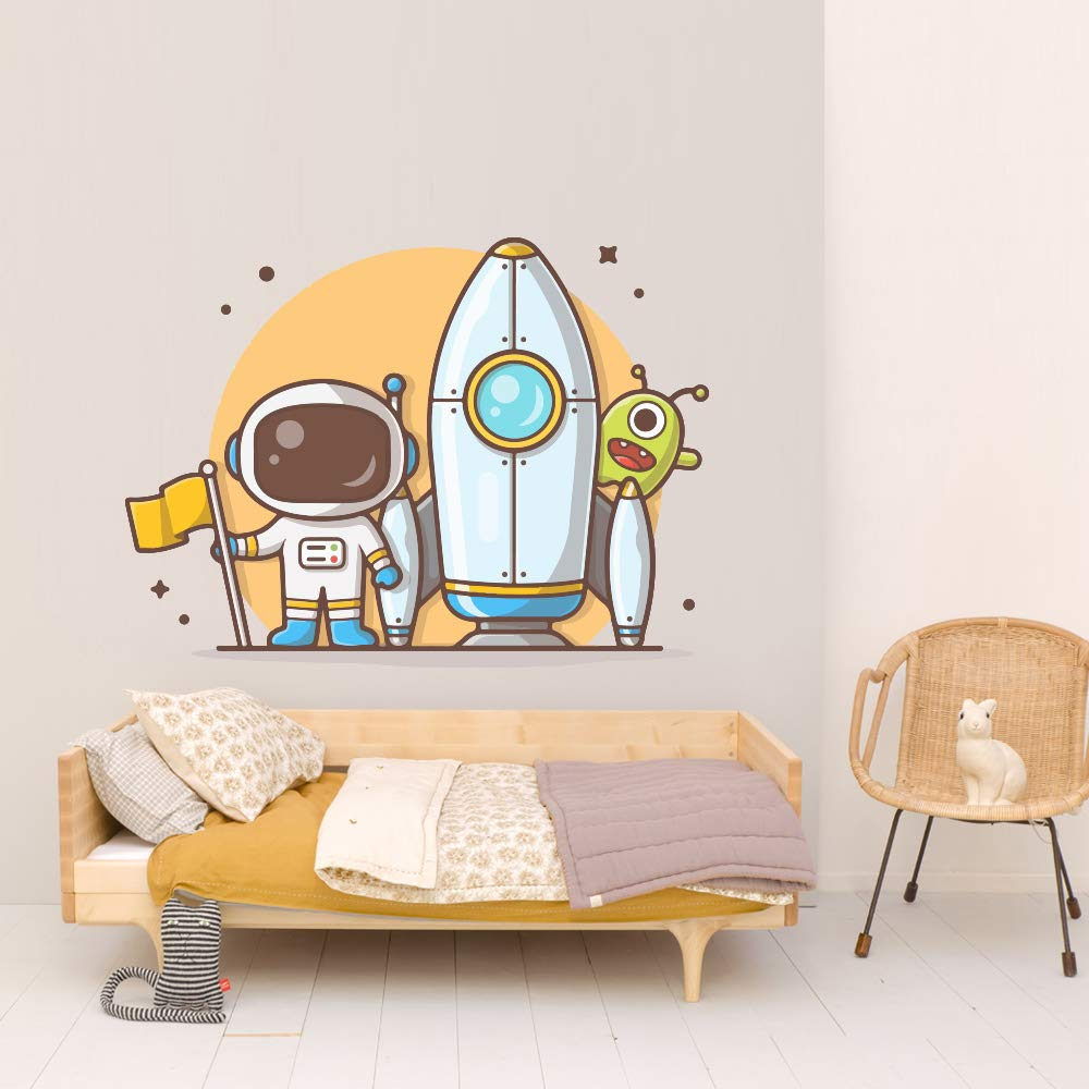 Astronaut Rocket Space Kids Room Wall Car Sticker Max 65% OFF Ranking integrated 1st place Mural De Vinyl