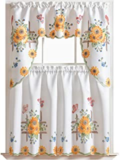GOHD Golden Ocean Home Decor 3pcs Kitchen Cafe Curtain Set Air Brushed by Hand of Sunflower and Butterfly Design on Thick Satin Fabric (Swag and 36 inches Tiers Set)