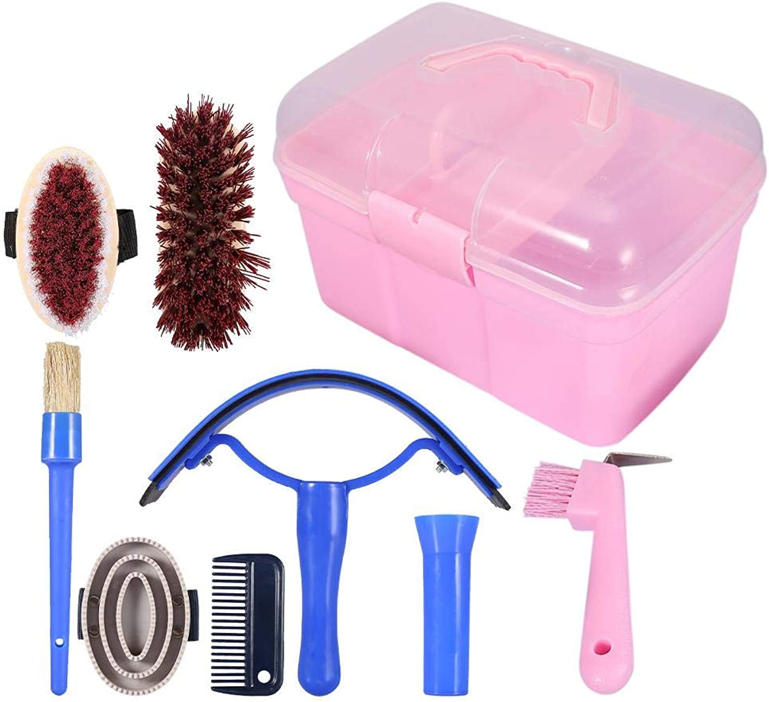 7Piece Horse Grooming Kit Equine Care Series Equestrain Brush Curry Comb Horse Cleaning Brushes Set Horse Pony Comfort Massage Tool with Storage Box