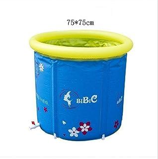 CZWYF Bath Barrel Warm Bath Barrel Doble Bano Fumigacion Piscina Desmontable Respaldo Grande Banera Plegable (Azul) (Size : 75cmx75cm)