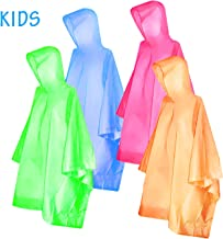 Ponchos for kids Adults,FishOaky Rain Ponchos Multi-colored Raincoat for Camping Hiking Traveling Backpacking, 4 Pack