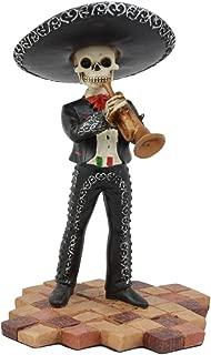 Ebros Day of The Dead Black Mariachi Skeleton Figurine 5.5