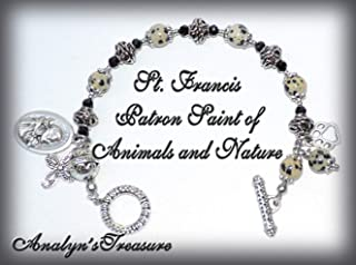 St. Francis of Assisi Rosary Bracelet in Dalmatian Beads, St. Francis Bracelet, Patron of Nature and Animals, or Customize Your Own Bracelet