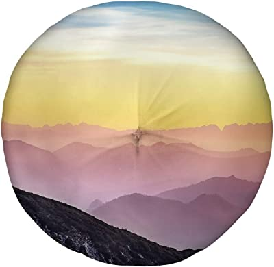 ArtVerse Simon Smith Pastel Landscape Floor Pillow - Round Tufted, 30 x 30, Blue Yellow & Pink