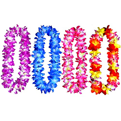 4pcs Hawaiian Leis Hula Dance Garland Artificial Flowers Neck Loop(4 Colors,Thickened)
