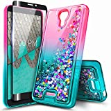 NZND Case for Wiko Ride 2 (U520AS Boost Mobile 2020 Release) with Tempered Glass Screen Protector (Full Coverage), Glitter Liquid Floating Waterfall Durable Girls Cute Phone Case Cover (Pink/Aqua)