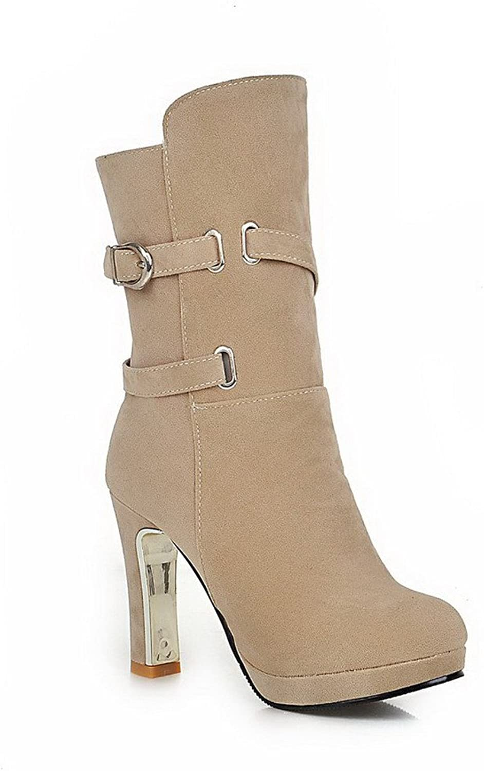 WeenFashion Women's Round Closed Toe Mid Top High Heels Solid Imitated Suede Boots