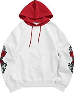 Men Embroidery Midweight Hooded Sweatshirt Drawstring Pullover Applique