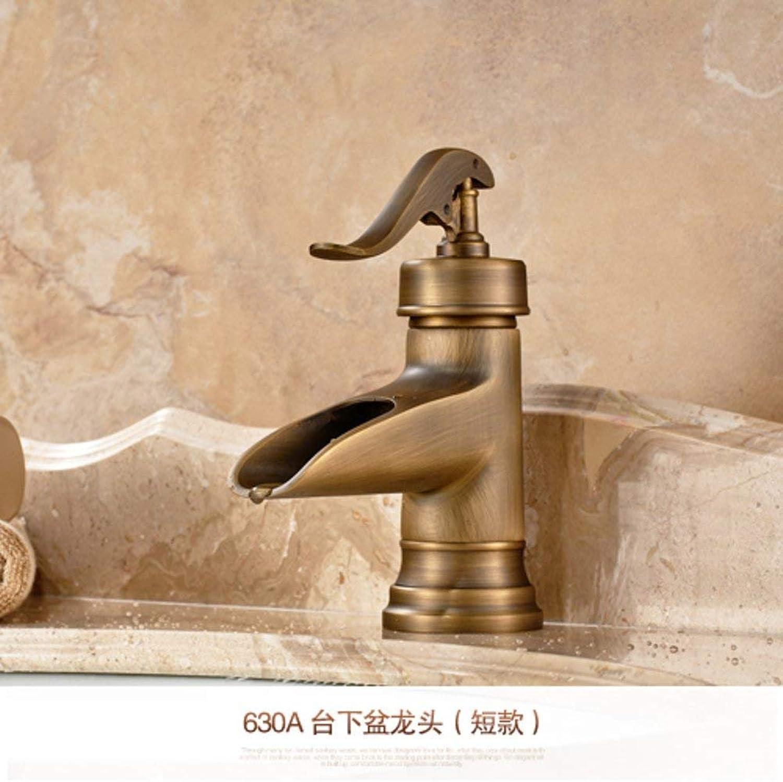 Oudan European all-copper basin mixer Antique faucet Hot and cold wash basin bathroom counter basin counter basin faucet-A (color   -, Size   -)