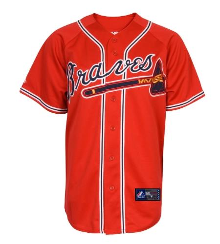 Majestic MLB Youth Atlanta Braves Scarlet Alternate Replica Baseball Trikot, Unisex-Kinder, scharlachrot, Small