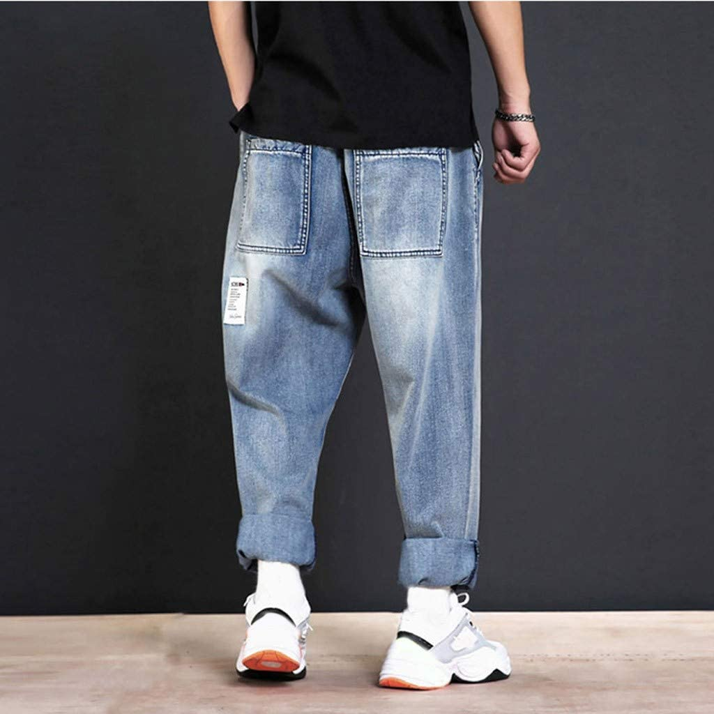 RTYou Denim Pants for Mens Casual Lightweight Drawstrintg Elastic Waist Stretch Twill Drop Crotch Jogger Pants