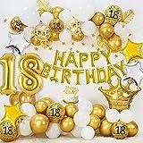 18 Cumpleaños Decoraciones para niños niñas, HAPPY BIRTHDAY 18 Globos Foil, Globos oro blanco metálico, Globos confeti oro, Globos estrella, Bandera del empavesado estrellas oro, Adorno de torta