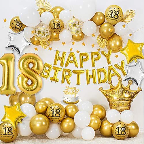 Anniversaire Décoration de 18 Ans, HAPPY BIRTHDAY 18 ballons en aluminium, ballons blancs en or métallique, ballons confettis or, ballons en aluminium étoile, bannière étoile or Bunting, Cake Topper