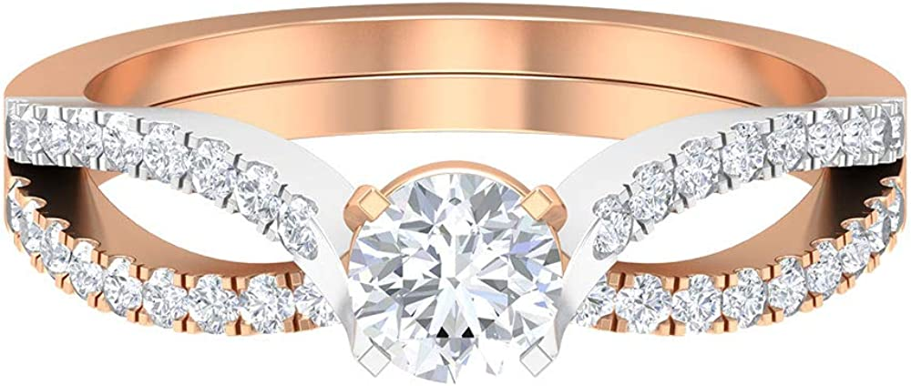 3 4 CT Solitaire Engagement Ring Classic Roun Shank Split Sacramento Mall Wedding