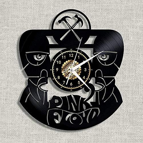 GVSPMOND Reloj de Pared, Banda, Icono de Rosa, Disco de Vinilo, Reloj de Pared, Silueta nostálgica, Registro, Arte Hecho a Mano, decoración del Dormitorio, Regalo, sin luz LED