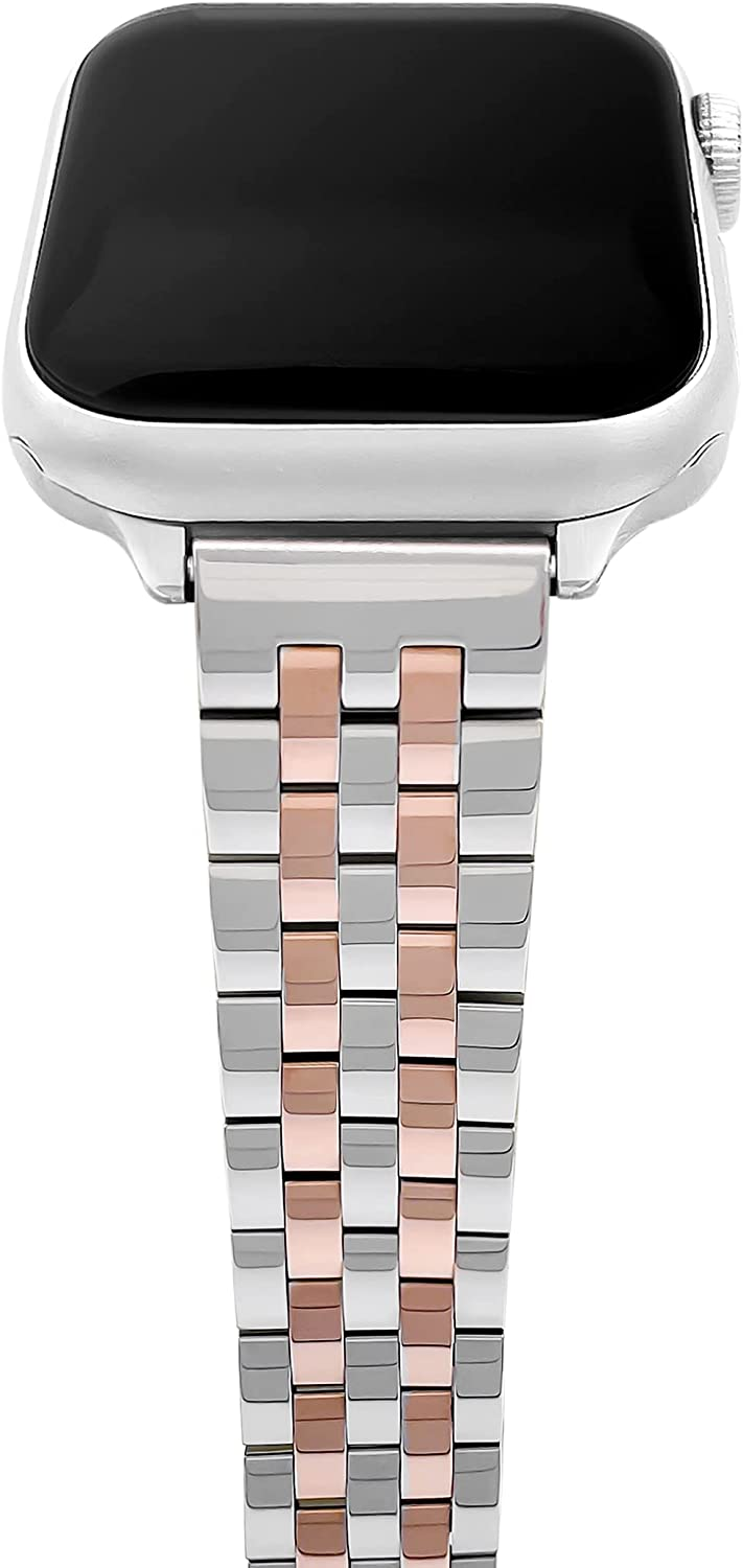 Thin/Slim Feminine Watch Bands Compatible with Apple Watch Bands for Women 38mm 40mm 42mm 44mm, Silver&Gold Stainless Steel Watch Bands Compatible with Apple Watch Bands Series 6,SE,5,4,3,2,1 for iWatch Bands 38 40 42 44 Silver and Rose Gold