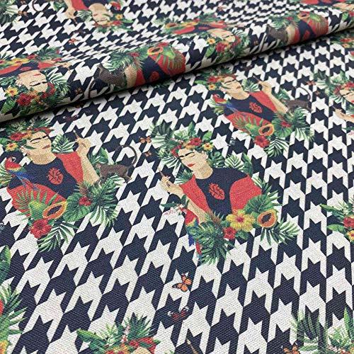 Kt KILOtela Tela de loneta Estampada Digital - Half Panamá 100% algodón - Retal de 100 cm Largo x