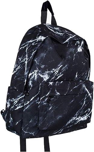 DJSkd Simple et Moderne Marbre Prints sac à doss Mode Multifonctionnel Polyvalent Sac à Dos Polyvalent Voyage Sac à Dos (Couleur   Noir)