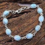 Larimar Gemstone Oval Shape Bracelet Jewelry - 925 Sterling Silver Handmade Statement Women Bracelet, Braccialetti d'argento per regalo delle donne