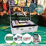 CCLIFE 300 500 PCS Pokerset Profi Pokerspiel inkl. Pokerkoffer Pokerdecks Dealer Button Poker Set Pokerchips Tischauflage Spielmatte