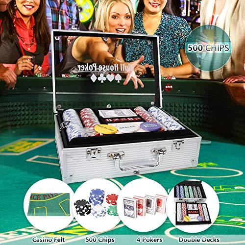 CCLIFE Set da Poker di 500 Fiches, Inclusi Mazzi di Carte da Poker, Dadi,Pulsante Dealer, Valigetta in Alluminio&Acrylic