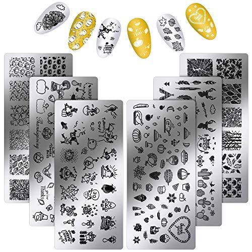 6 Pieces Thanksgiving Stamping Plates Fall Nail Stamping Plates Nail...